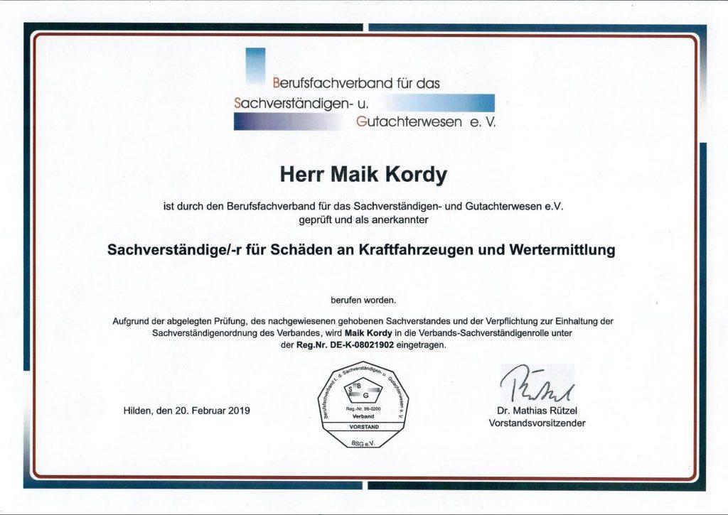 BSG Zertifikart